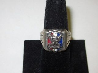 OLD BOY SCOUT EAGLE SCOUT STERLING RING WITH RED, WHITE AND BLUE