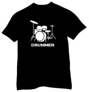 DRUMMER DRUM KIT ROCK & ROLL MUSIC RETRO T SHIRT   FREE UK P&P