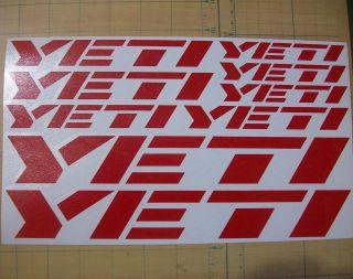 YETI bicycle bike stickers decals Rub On