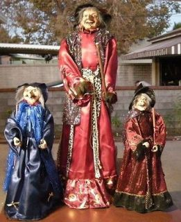 Witch Doll In Red Dress Halloween Decoration, (About 40 inches Tall)