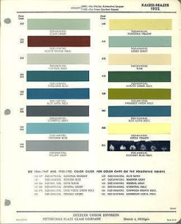 1952 Kaiser Frazer COLOR CHIP SAMPLE PAINT CHART Brochure PPG Ditzler