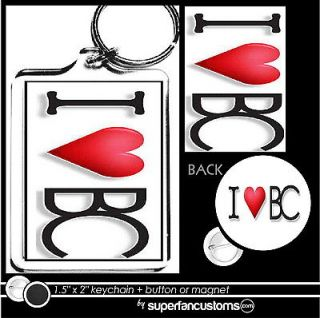 love BeautiControl KEYCHAIN + BUTTON or MAGNET pin heart badge key