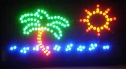 New 19x10 Motion Palm Tree Ocean LED Light Up Neon Sign