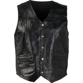 Womens Black Leather Motorcycle Biker Vest Fully Lined 2 Watch Pockets