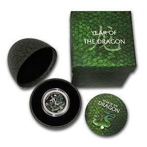 2012 Niue $2 Fine Silver 1/2 oz Pearl Dragon in Dragon Egg Case with