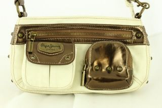 Gently Used Modern Designer Purse PEPE JEANS Cream & Metallic Small