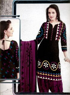 DESIGNER PRINTED COTTON PATIALA SALWAR KAMEEZ SUIT MATERIAL LADIES DEN