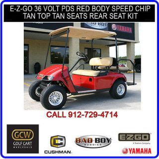 EZGO GOLF CART ELECTRIC PDS W/ SPEED CHIP RED BODY REAR SEAT KIT