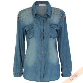 Spike Stud Embellished Denim Shirt Top Light Stone Wash Faded Vintage