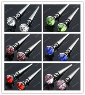 2x Crystal Spike Taper Stainless Steel Fake Cheater Ear Plug Earring