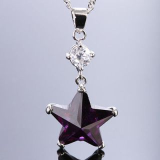 FASHION JEWELRY ~~STAR WAR CUT PURPLE AMETHYST PENDANT NECKLACE CHAIN