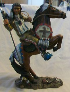AMERICAN INDIAN WARRIOR ON HORSEBACK STATUE CAST RESIN