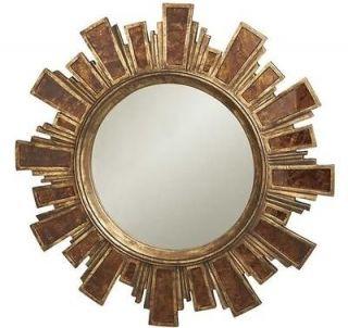 Contemporary Round Sunburst Mirror, Modern Antique Gold Polystone Wall