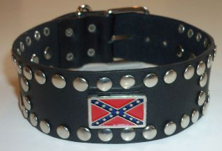 Confederate Black Leather Studded Dog Collar 1.5 WIDE SZ 12.5 14.2