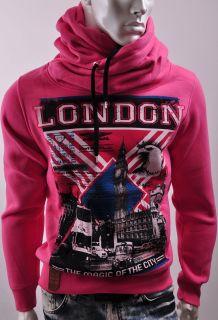 Sweater Funnel Neck Hoodie England Flag UK Big Ben Clock British
