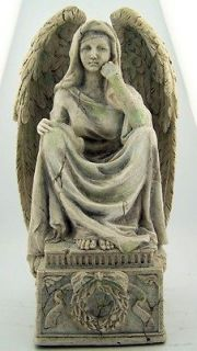 Balthial Weeping Sorrowful Angel w Wings Flower Ribbon Wreath Base