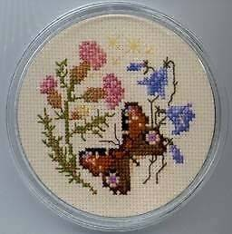 Framecraft Peacock Butterfly Coaster Cross Stitch Kit NEW
