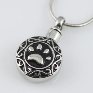 Paw Print Black Silver Stainless Steel Cremation Urn Pendant Necklace