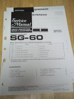 Pioneer Service Manual~SG 60 Graphic Equalizer~Orig​inal~Repair