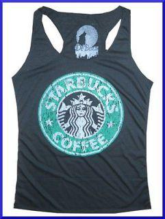 Lady Youth Top Shirt STARBUCKS COFFEE Thin SOFT COTTON free sz VINTAGE