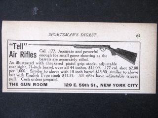 1925 TELL BB Gun Air Rifle magazine Ad shooting youth gun s2486