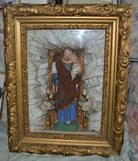 Antique Catholic Framed Saint Joseph Statue 1800s Victorian Frame