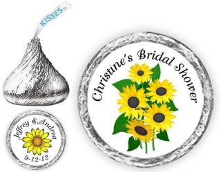 108 Wedding Sunflowers Candy Kiss kisses Labels Favors