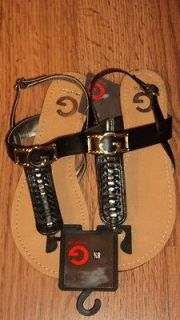 Sandals,Size 8 1/2, BLACK, Silver Tone Guess Logo, Braided T Strap