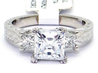 New Platinum Tacori Three Stone Princess Cut Diamond G VS Engagement