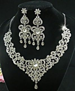 Bridal Flower with Clear Swarovski Crystals Necklace Earring Set 63