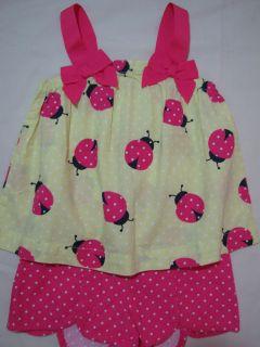 Cape Cod Cutie Set 18 24 m 2T 3T Pink Dot Shorts Swing Top Ladybug