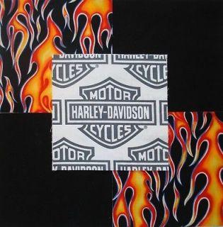 HARLEY DAVIDSON Shield Logo Red/Orange flames Quilt Fabric Squares