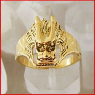 LADY 18K YELLOW GOLD GP GEP OVERLAY TRADITIONAL DRAGON HEAD RING SZ 7