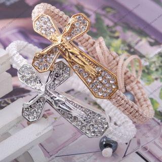 gold tone clear rhinestone cross JESUS white string macrame bracelet