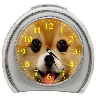 New Smiling Pomeranian Travel Desk Top Alarm Clock Backlight