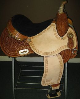 New Tex Tan Barrel Racer Racing Saddle 15 inch Star Racer Butterfly