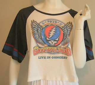 GRATEFUL DEAD T SHIRT BASEBALL RAGLAN SLEEVE VTG 70s STYLE ANGEL WING
