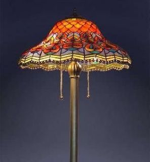 Peacock Stained Glass Tiffany Style Floor Lamp W18x H60 NEW