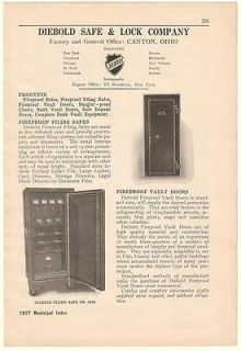1927 Diebold Safe & Lock Co Fireproof Filing Safes Ad