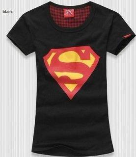 Trendy Super Man Cotton Crew Black Womens New T shirt Tee Top