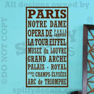 PARIS EIFFEL TOWER FRANCE NOTRE DAME Subway Quote Vinyl Wall Decal