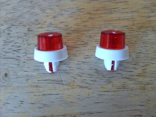 TWO REPRO   RED & WHITE PLASTIC BEACON LIGHTS FOR YOUR TONKA   PARTS