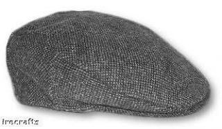 Traditional Irish Grey Tweed Wool Flat Cap Hat Ireland sz L XL r