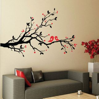 Blossom Flower Tree Birds Vinyl Art Wall Stickers / Wall Decals / Wall