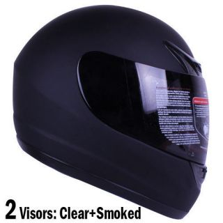 Full Face Motorcycle Helmet Matte Black DOT +2 VISOR Size S, M, L, XL