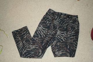 NWOT $118 Karen Kane Brown/Black Zebra Print Skinny Jeans