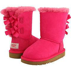 NIB UGG Australia Kids Bailey Button Bow Boots Cerise Pink Youth Size