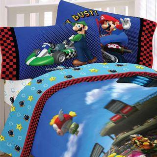 MARIO KART Racing TWIN Single SHEET SET   Video Game Accent Bedding