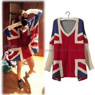 Fashion Womens Batwing V neck Jumper Loose Union Jack Pullover Sweater