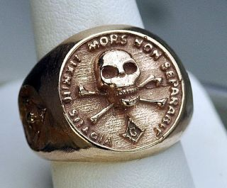 NEW 18K ROSE GOLD PLATED MENS MASONIC RING MASON SKULL